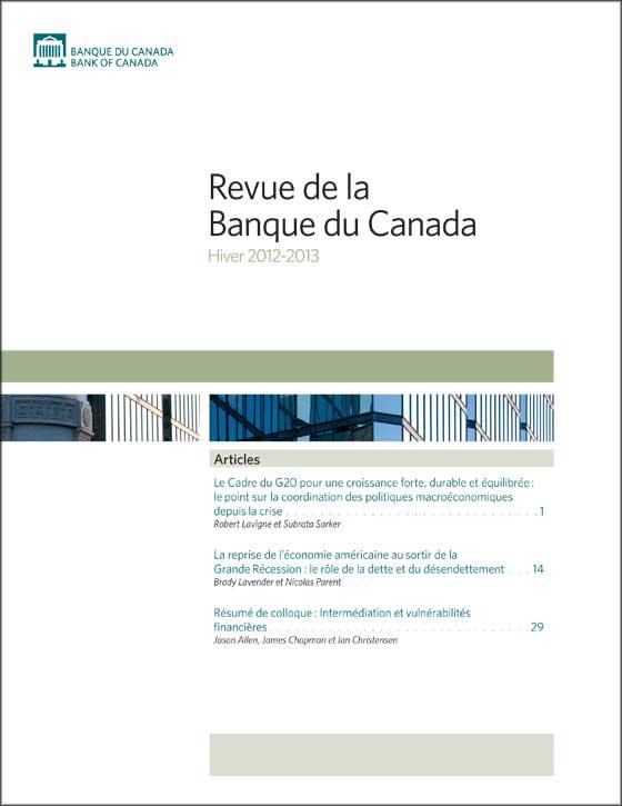 revue de la banque du canada - hiver 2012-2013