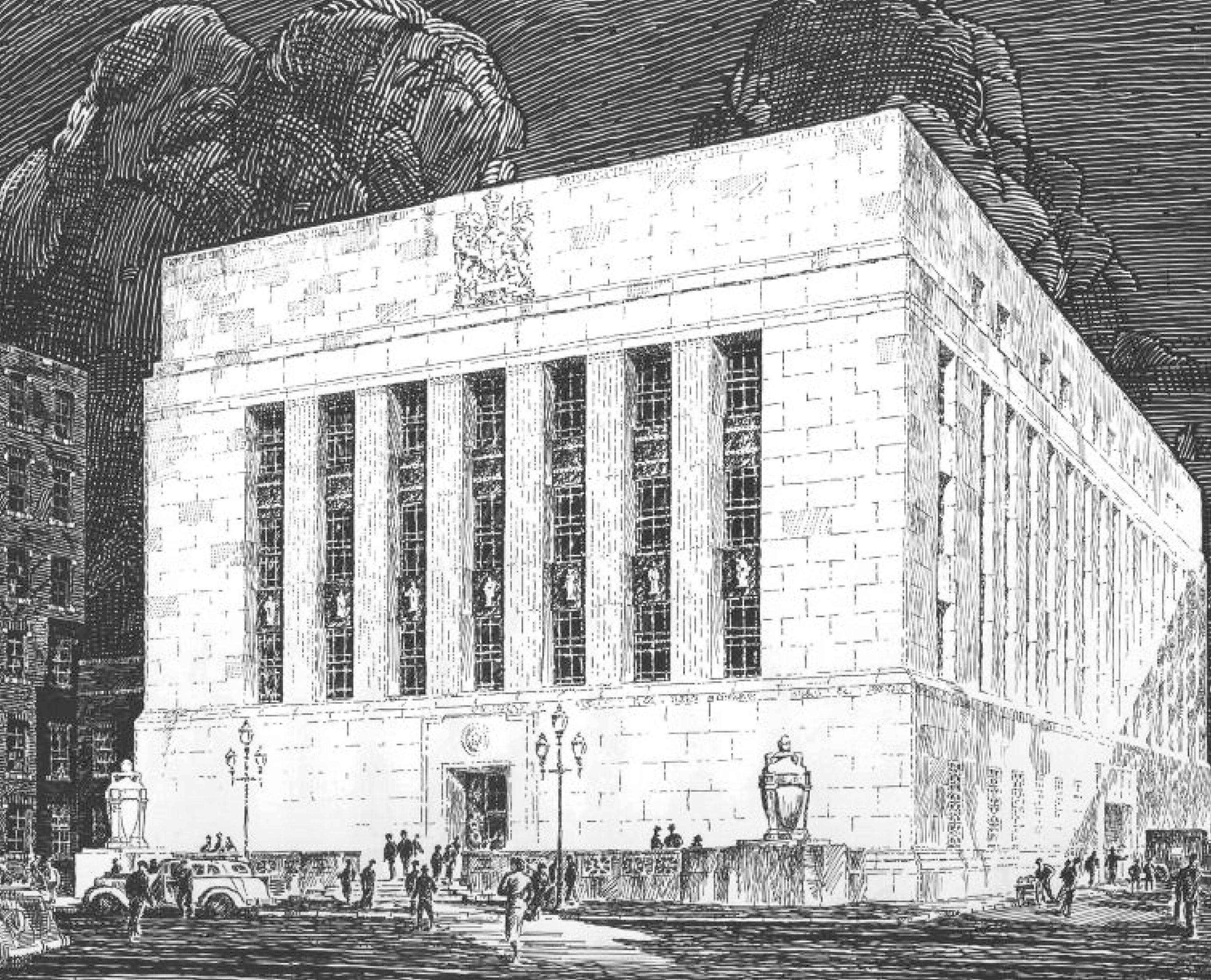 Proposition architecturale de Marani, Lawson et Morris et de S. G. Davenport, architectes associés, 1937