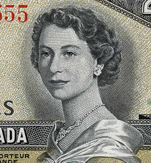 Détail de la coupure de 20 $, série Paysages canadiens, Banque du Canada, émission du 9 septembre 1954