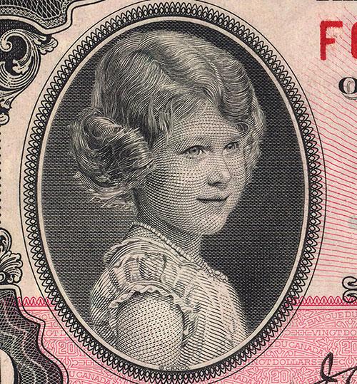 Détail de la coupure de 20 $, série de 1935, Banque du Canada, émission du 11 mars 1935