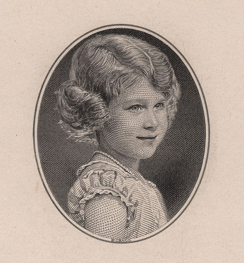 La princesse Elizabeth, gravure : Edwin Gunn (American Bank Note Company), épreuve X-V-125, 1934, Compagnie canadienne des billets de banque limitée (imprimeur), acquisition en 1975 auprès de l'American Bank Note Company, Collection nationale de monnaies, code : 1975.0176.00018