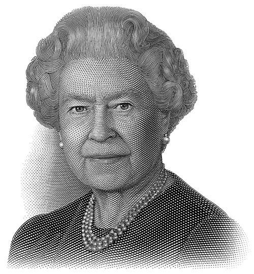 La reine Elizabeth II, gravure en taille-douce : Jorge Peral, vers 2009