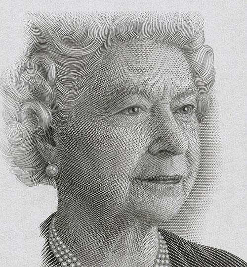 La reine Elizabeth II, gravure : Jorge Peral, épreuve, 2002, Compagnie canadienne des billets de banque limitée (imprimeur), acquisition en 2012 auprès du département de la Monnaie de la Banque du Canada, Collection nationale de monnaies, code : 2012.0063.00350