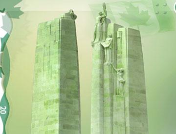 Les deux colonnes du Monument commémoratif du Canada à Vimy rappellent les sacrifices faits par les populations du Canada et de la France.