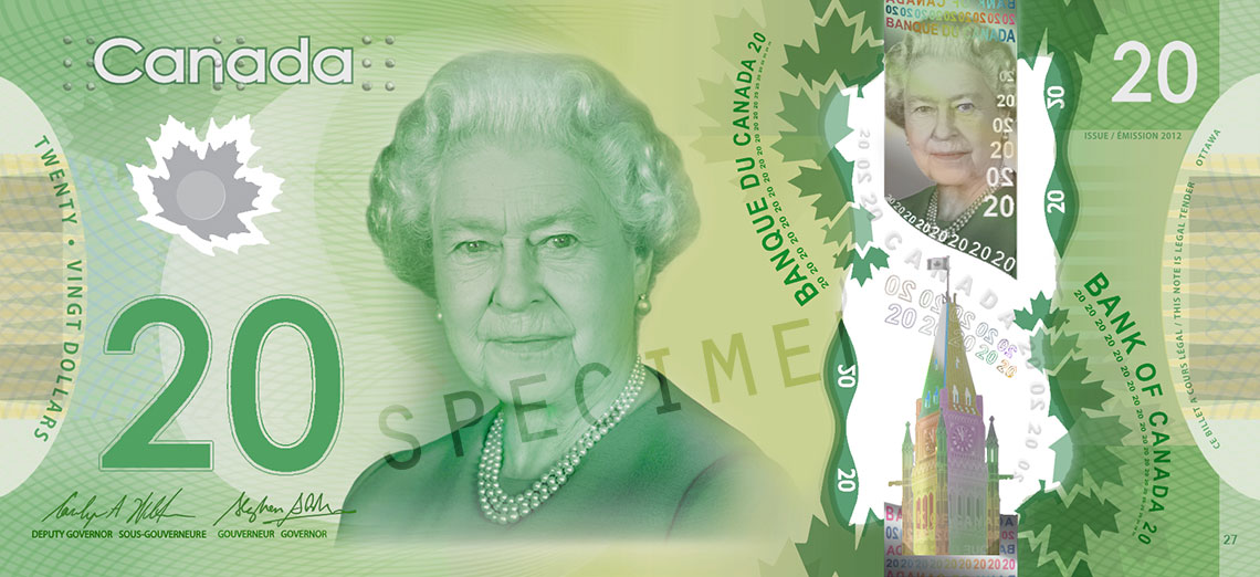 Coupure de 20 $, série en polymère de 2012, portrait : Sa Majesté la reine Elizabeth II, émission du 7 novembre 2012