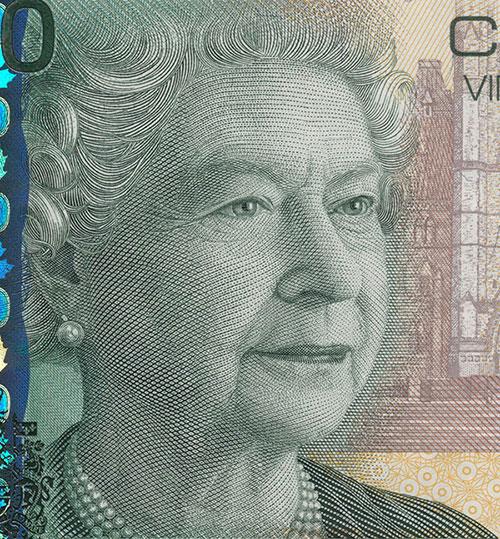 Détail de la coupure de 20 $, série L'épopée canadienne, Banque du Canada, émission du 29 septembre 2004