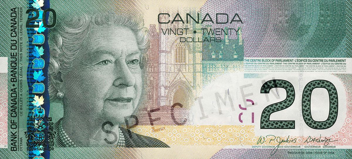 Coupure de 20 $, série L'épopée canadienne de 2004, portrait : Sa Majesté la reine Elizabeth II, émission du 29 septembre 2004