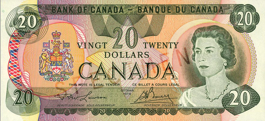 Coupure de 20 $, série Scènes du Canada (1979, seconde émission), portrait : Sa Majesté la reine Elizabeth II, émission du 22 juin 1970, émission suivante le 18 décembre 1979