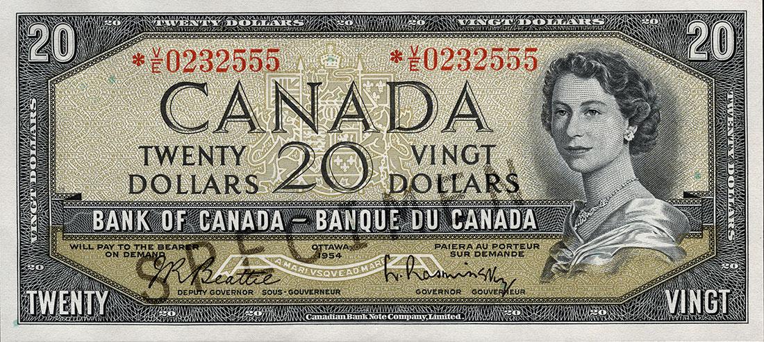 Coupure de 20 $, série Paysages canadiens de 1954, portrait : Sa Majesté la reine Elizabeth II, émission du 9 septembre 1954