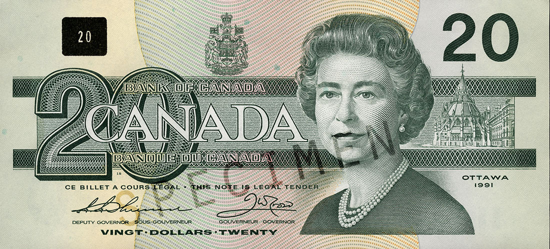 Coupure de 20 $, série Les oiseaux du Canada, portrait : Sa Majesté la reine Elizabeth II, émission du 29 juin 1993