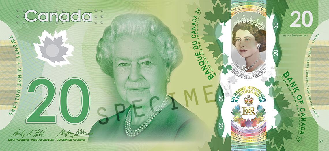 Front of $20 Commemorative Note (2015)