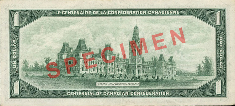 Back of $1 Commemorative Note (1967)