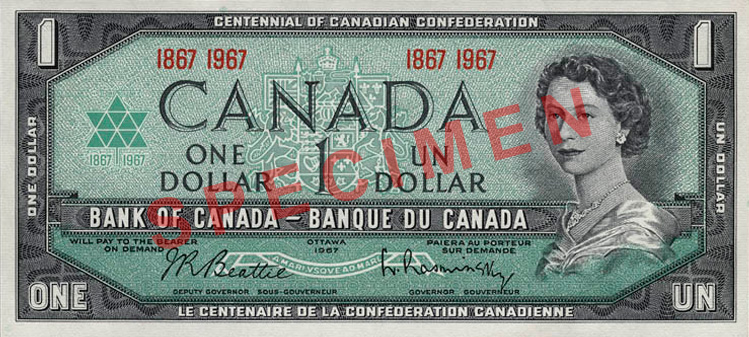 Front of $1 Commemorative Note (1967)