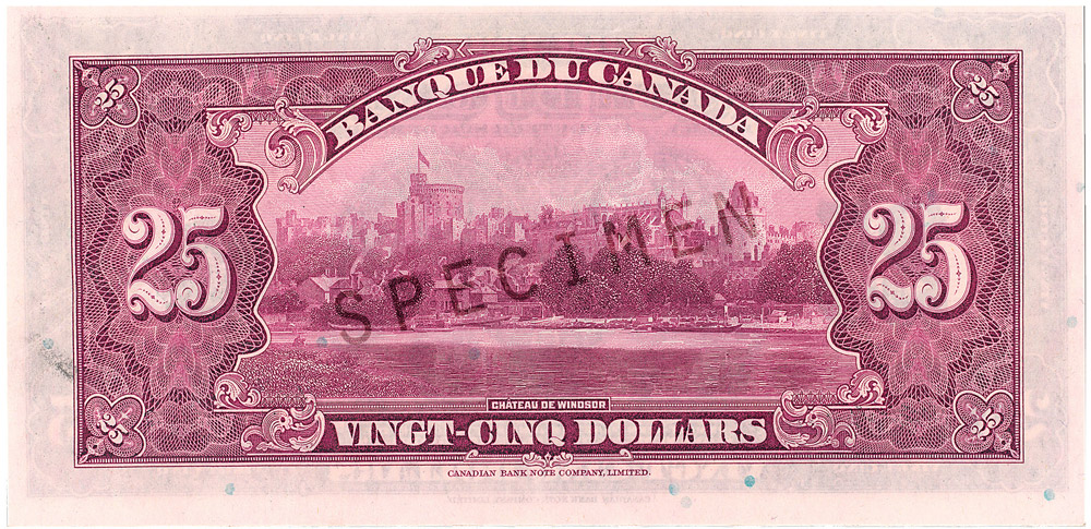 Billet commémoratif de 25 $ (1935) - verso