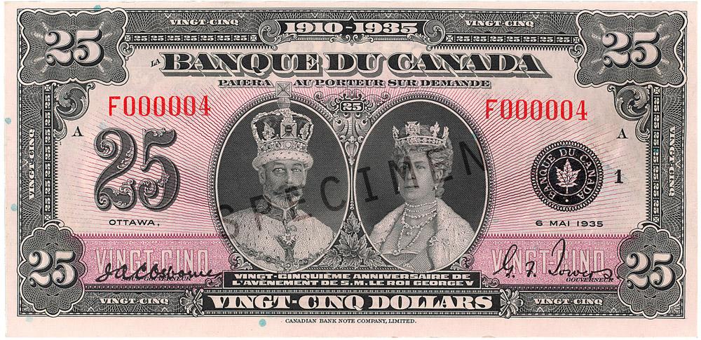 Billet commémoratif de 25 $ (1935) - recto