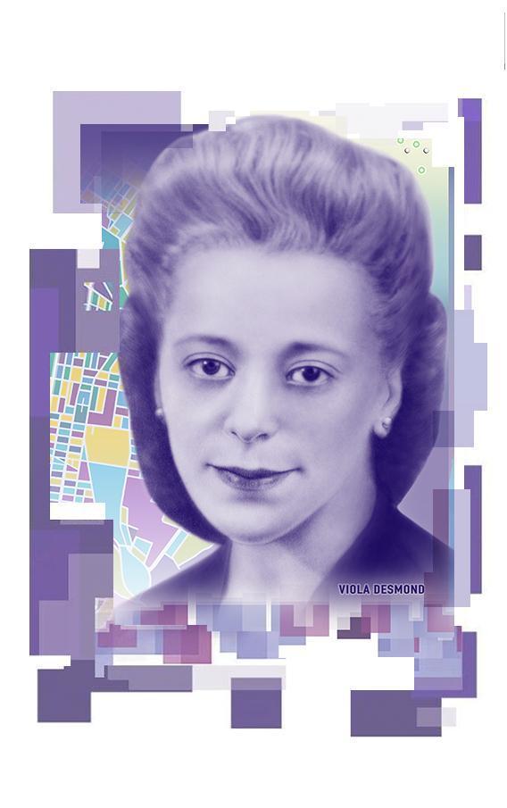 Portrait de Viola Desmond sur un billet de 10 $