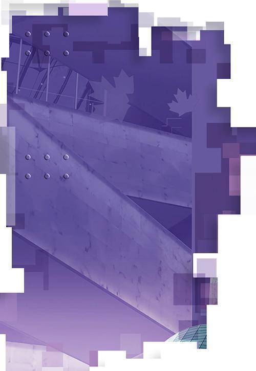 Rampes reliant les sept étages du Musée canadien pour les droits de la personne en arrière-plan sur un billet de 10 $