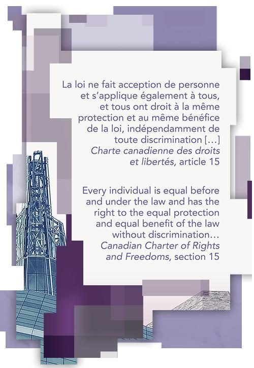 Extrait tiré de la Charte canadienne des droits et libertés sur un billet de 10 $: « la loi ne fait acception de personne et s'applique également à tous, et tous ont droit à la même protection et au même bénéfice de la loi, indépendamment de toute discrimination ».